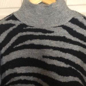 Nine West animal print grey and black sweater